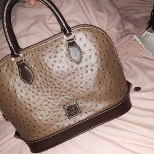 Dooney and Bourke Brown Ostrich Skin Handbag